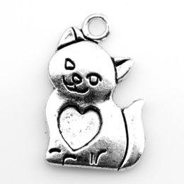 Wholesale 50pcs x14mm Antique Silver Bronze Cat Charm Pendant Fit Bracelet Necklace DIY Metal Jewelry Making