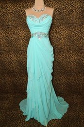 Wholesale Aqua Prom Dresses Long Sweetheart Colorful Beaded Draped Sweep Train Sheath Column Prom Dresses Sexy Evening Party Gowns LA