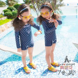 Wholesale 2015 New Lovely Girls Long Sleeve Swimwear Children Baby Sun Protection Split Blue Swimsuit Kids Seperate Two Pieces Bathing Suit Free Scarf