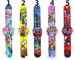 Wholesale Frozen snap watch digital watch Despicable Me Minions snap watch Spiderman snap watch with the opp bag packaging for Kids best gift H0490