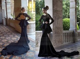 Wholesale 2015 Scoop Glitz Backless Black Lace Evening Dresses With Peplum Long Sleeves Mermaid Dresses Chapel Train Prom Dresses BO1055