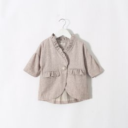 Wholesale 2015 New Arrival Kids Frilled Neck Line Jackets Western Fashion Asymmetric Pockets Outwears Cute Children Fall Winer Outwear Clothing