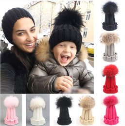 Wholesale Free DHL Fashion Children Winter Raccoon Fox Fur Hat For Girls Boys Real Fur pompoms Ball Baby Beanies Cap Crochet Kids Knitted Hats