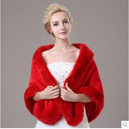 Wholesale Wool shawls wedding dress in winter warm red imitation fox fur bridal gown wedding cloak more thick coat