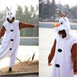 Wholesale Frozen Olaf Snowman Pajamas Jumpsuits Adult Costume Unisex Sleep Suit White S M L DH04