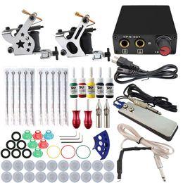 Wholesale Professional Complete Tattoo Kits Wrap Coils Guns Machine Black Tattoo Ink Sets Power Supply Disposable Needle Tattoo Kit