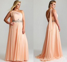 Wholesale 2014 New Cheap Plus Size Women Prom Dresses Beaded Crystal Chiffon Ruched One Shoulder Pink Red Long Chiffon Evening Pageant Prom Dresses WZ