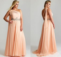 Wholesale Cheap Plus Size Women Prom Dresses Beaded Crystals Chiffon Ruched One Shoulder Coral Red Long Chiffon Evening Pageant Formal Dresses WZ