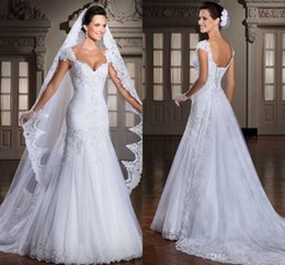 Wholesale Shining Off Shoulder Wedding Dresses Capped Sleeves Lace White Chapel Train A Line Appliques Chapel Bridal Dress fast shipping newest