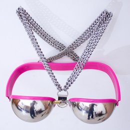 Wholesale BDSM Toys Stainless Steel Bra Chastity Devices bondage Restraints Female Chastity Belt Metal Underwear Sex Toys For Women