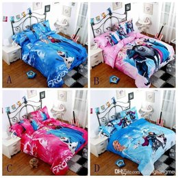 Wholesale 1set Frozen Bedding set Hot selling D printed Cotton Children Bed Linen for Girls Boys Kids Single double Bed children gifts Y27