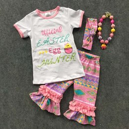 Wholesale new ARRIVAL baby Ester day egg outfit girls SUMMER SPRING clothes short sleeves PNK Aztec Capris RUFFLE outfits
