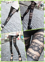 Wholesale Women girls fashion sexy Lace leather pants Rose Lace Mosaic leather leggings Black leggings