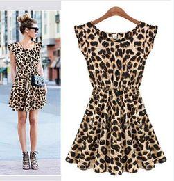 vente chaude 2015 nouveau Fashon femmes Casual volants manches robe plissée Leopard robe d'été