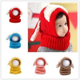 Wholesale Free DHL Baby Kids Winter warm hats Earmuffs knitted caps colors kids hat cartoon design crochet Animal hats LA121