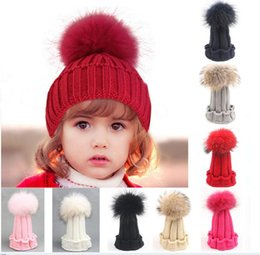 Wholesale DHL FREE Children Raccoon Fox Fur Hat Fashion winter Girls Boys Real Fur pompoms Ball Baby Beanies Cap Crochet Kids Knitted Hats