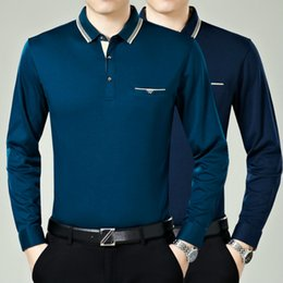 Wholesale Brand new autumn and winter solid color long sleeve Polos Men comfortable high quality cotton shirt M XXL code
