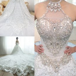 Wholesale Gorgeous Halter With Crystals Lace Beaded Wedding Dresses Cathedral Train Bridal Gown Ball Gown Wedding Dresses UM2820