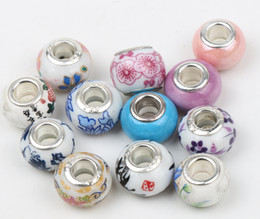 Wholesale Mix New X9mm Handmade Porcelain Ceramic Big Hole Beads Fit Pandora Charms Bracelets Jewelry DIY