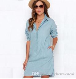 Discount Denim Shirt Dresses For Women   2017 Denim Shirt Dresses ...