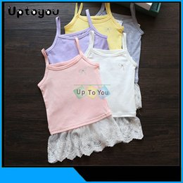 Wholesale 2015 Lace condole belt unlined upper garment FOR GIRLS Summer WHOLESALES FASHION Vest gallus
