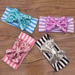 Wholesale Baby new sequin christmas bows Stripe headbands beautiful cotton stripe bow headbands for baby girls christmas gift