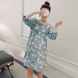 Wholesale 1602 Cotton Linen Print Maternity Dress Frenal Sleeve Clothes for Pregnant Women Plus Size Loose Fashion Pregnancy Clothing