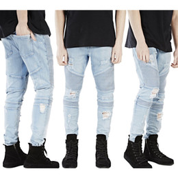 Wholesale 2016 New Mens Pleated Distressed Straight Slim Fit Trousers Biker Jeans Denim Pants
