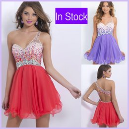 Wholesale In Stock One Shoulder Homecoming Short Prom Dresses Watermelon Red Crystal Beads Lilac Sexy Cocktail Graduation Party Gowns Cheap