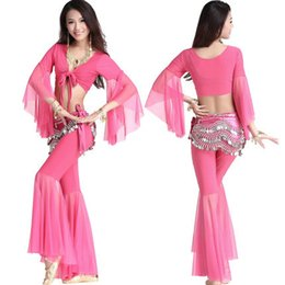 Wholesale 2015 New Long sleeved Mesh Belly Dance Practice Suit costume belly dance waist chain exercises suit upscale winter suit costumes