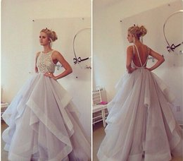 Wholesale 2014 Halter Neck See Throug Sparkly Pearl Beaded Natural Waist Open Back Ball Gown Fashion Designer Wedding Dresses New Fashion