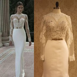 Wholesale Gergous Berta Hot Sale Long Sleeve Round Back Sheath Gold Belt See Through Wedding Dress Sheer Real Photo Custom Made Bridal Gown