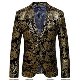 Wholesale 2015 Men s Blazers gold blazer for men suit autumn and winter high quality brands men s velor Married suit plus blazer slim man