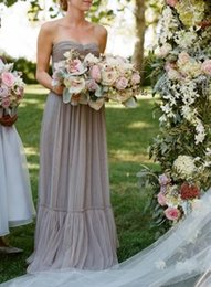 Wholesale Gray Long Bridesmaid Dresses Strapless Tulle Wedding Party Dresses Corset Back Maid Of Honor Dresses