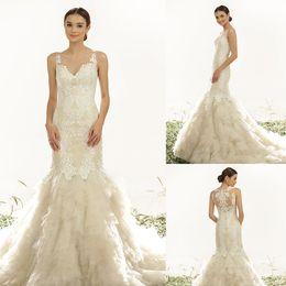 Wholesale 2015 Brazil Wedding Dresses JULIENNE Mermaid Sheer Crew Neckline Appliques Tiers Tulle Floor length Bridal Dresses Dhyz