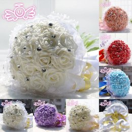Wholesale New Six Colors Pearls Ringstone Beading Rose Bridal Artificial Wedding Bouquets Handmade Flowers Lace Elegant Wedding Supplies WFD194