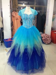 Wholesale Sweetheart Ball Gown Sparkle Beaded Net with jacket blue Quinceanera Dresses Sweety