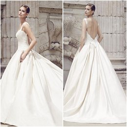 Wholesale Sleeveless Lace Bodice With Sweetheart Neck Wedding Dresses Double Box Pleated Full Skirt With Side Pockets Bridal Gowns