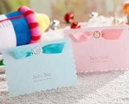 Wholesale Cute Cartoon D Baby Shower Invitation Cards Blue Pink Free Customized Print Insert CW5302