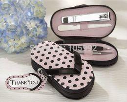 Wholesale 80pcs set Pink Polka Purse Slippers Shaped Cute Creative Manicure Set Wedding Gift Favors