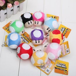 "Free Shipping 20/Lot 9 Colours 2.5"" Super Mario Bros Mushroom With Phone Chain Plush Doll Toy"