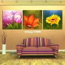 2015 new modern sunflower paintings pink and orange flower art wall canvans painting for dining room decor free shipping - Esszimmer Moder 2015