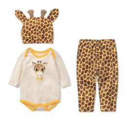 Wholesale Set bébé animal Giraffe Romper Pant Chapeau Set Vêtements bébé Garçons Vêtements Filles Set Bebe De Roupa