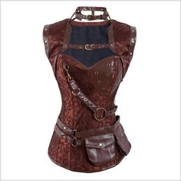 Wholesale New Steampunk Corset Top Retro Gothic Full Steel Boned Brocade Vintage Steampunk Bustier Corsets Brown High Neck Corselet hight quality fre