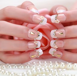 Wholesale French Nail Rhinestone false Tips glue on fingernails fashion party club Beauty Fake Nail Art tips Stickers tools