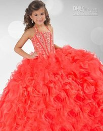Wholesale Robe Custom Robes Sparkly Flower Girl Pagent Robes Cristal perlé Little Girl Coral Grils Halter robe de bal OrganzaGirl fait