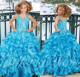 Wholesale Blue Stunning Ruffles Beaded Pageant Dresses For Girls Square Full length Backless Ball Gown little Girl Formal Dresses Pageant Gown
