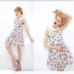 Wholesale New Brand Fashion Women Summer Dress Organza Bird Pattern Sleeveless Novelty Casual Dress Girl s Party Dresses Plus Size