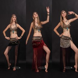 Wholesale 2015 Tribal Belly Dance Costume Stage Performance Belly Dance Apparel Clothes Set Long Dress Stage Wear for Female and Girls A41