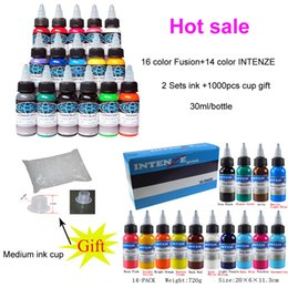 Wholesale Hot Sale new style Sets Tattoo Ink Color fusion color oz ml Bottle Tattoo Pigment Kit Medium ink cup for gift